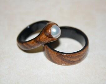 Ebony Wedding Ring Set, Wooden Wedding Bands, Handmade Commitment Rings