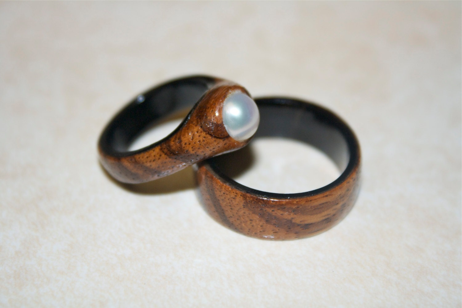 Ebony Wedding Ring Set Wooden Wedding Bands Handmade