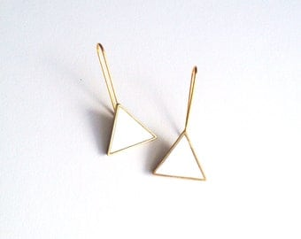 white and brass triangle drop earrings