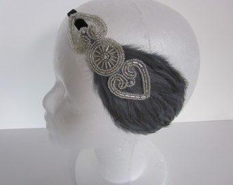 Feather headband great gatsby headband silver beaded Art Deco flapper headband red feather white cream fascinstor
