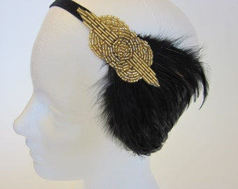 1920s Black Headpiece, Feather headband, robe Charleston, headband Annees 20, flapper headband for flapper dress, gold gatsby dress hair