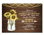 Sunflower Printable Wedding Invitation DIY PRINTABLE Digital File or Print (extra) Wood Wedding Invitation Sunflower Wedding Invitation