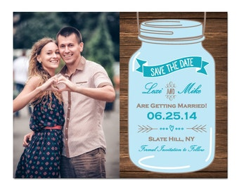Wood Mason Jar Save The Date Magnet or Card with Photo DIY PRINTABLE Digital File or Print (extra)