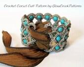 Crochet Pattern - Corset Cuff Bracelet, Crochet Jewelry Pattern - pdf instant download