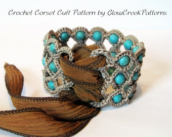 Crochet Pattern - Corset Cuff Bracelet, Crochet Jewelry Pattern - pdf instant download