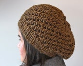 Warm Chunky Womens Knit Winter Hat made from 100% Wool