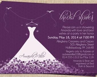 Bridal Shower Invitation (Elegant Wedding Dress) Printable Bridal Shower Invitation
