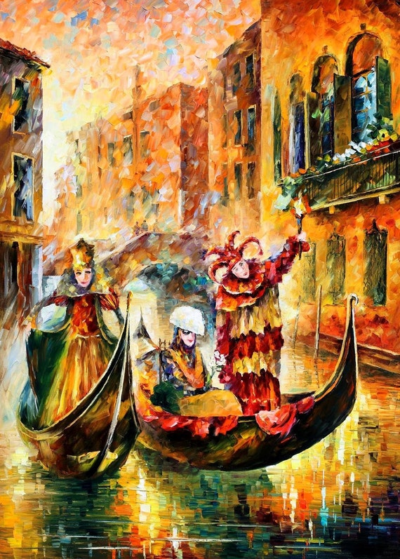 venice gondola palette knife carnival in italy painting
