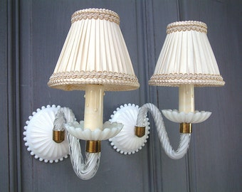 French vintage Murano glass, opaline crystal, and hobnail milk glass light sconces with lamp shades. French boudoir. White venetian glass