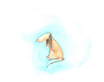 Dog with long ears, children's art, kids room decoration