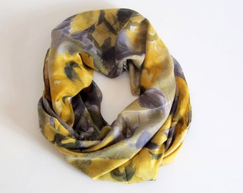 autumn scarf, Women  scarf, scarves, gray and yellow, gift for women, square scarf,  women's accessories, christmas gift