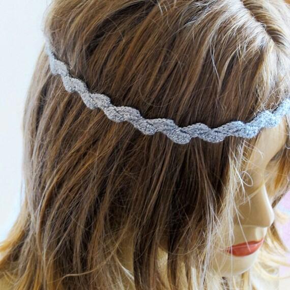 Items Similar To Crochet Gray Headband Hair Accessories Hair Band Wedding Boho Bohemian Women ...
