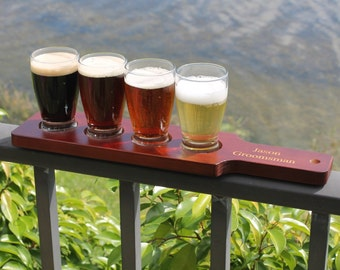 Personalized Beer Flight Set, Beer Paddle and 4 Beer Tasting Glasses, Beer Sampler, Groomsmen Gift, Beer Flight Paddle, Beer Tasting Party