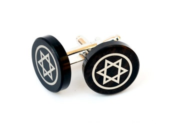 Jewish sign The Star of David cufflinks made from obsidian, the image was printed from damask, these cufflinks set is in the gift box
