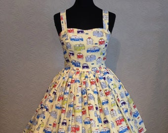 lets go camping 50's inspired women's sun dress size 12