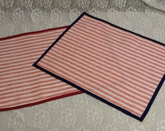 Striped Red Custom Made French Linen Placemats. Add to your Patriotic Party Theme. Choose Plain edge or Choose your Trim Color!