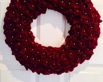 Christmas wreath Felt roses