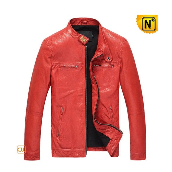 Lambskin Leather Motorcycle Jacket for Men CW850126