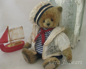 "SOLD  5.5"" Miniature Artist Sailor  Bear Handmade by Vera J.Bears"