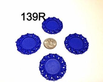 2/3/5 pc Royal Blue Cameo Resin Flat back Bottle cap for Bow center or pendant