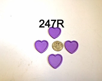 2/3/5 pc - Purple Heart Shaped Cameo Resin #247R flat back Bottle cap for Bow Center or Pendant