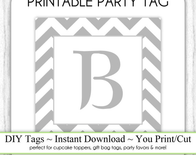 Instant Download - LETTER B, Chevron Party Tag, Monogram Party Tag, Gray Chevron Monogram, DIY Cupcake Topper, You Print, You Cut