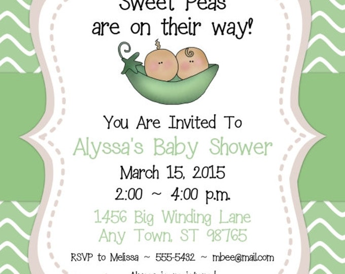 Baby Shower Invitation, Two Sweet Peas Invite, Sweet Peas Baby Shower, DIY Invitations, Customized for you - 4x6 or 5x7 size - YOU print