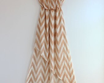 Clearance SALE Taupe Chevron Maxi Dress with Asymmetric Cut Causal Chevron Maxi Dress Long Dress Summer Maxi Dress Chiffon Maxi Dress