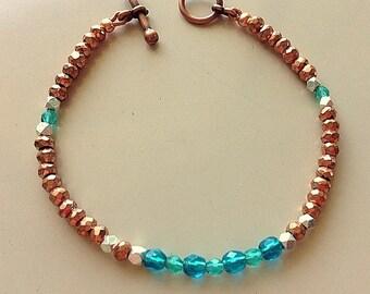Emeralds, Copper, Silver,and Czech Glass Bracelet