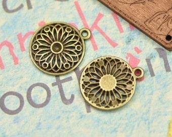 DIY jewelry 50 pcs antique bronze hollow out pattern round  charm pendant 18x22mm circular pattern pendant
