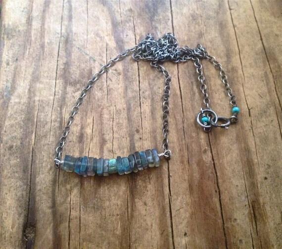 Labradorite Bar Necklace - Minimalist Necklace - Everyday Necklace - Layered Necklace - Third Eye Chakra - Dainty Necklace - Horizontal Bar