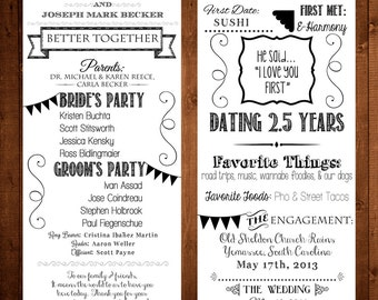 Our Love Story / Wedding Program Printable / 4.25x11 - Bride, Groom, Invitation, Ceremony, Kraft Paper, Chalkboard, Anniversary, Engagement