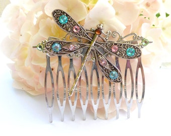 Dragonfly hair comb in silver with colorful rhinestones, summer comb