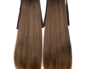Dark Brown Black Blonde (#627) mix Long Straight clip on drawstring Ponytail  hair extension 1 pair