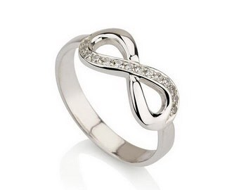 Infinity Ring, 925 Sterling Silver Infinity ring, Promise Ring with Swarovski CZ