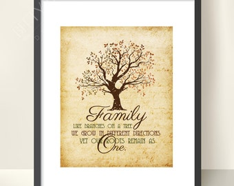 PRINTED | Family Tree | Family Print | Family Tree Print | Family Quote | Home Print | Home Decor Print