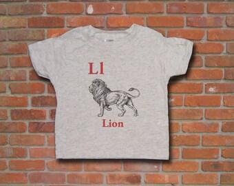 L is for Lion Vintage Print Kid Toddler Short Sleeve  T-shirt.