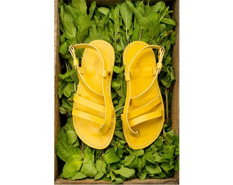 SALE, 25% OFF.  Women Leather Sandals in Yellow Color, Two Straps Leather Sandals