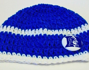 Blue and White Blue Devils Duke Inspired Hand Crocheted Baby and Childrens Beanie Hat Great Photo Prop 5 Sizes Available