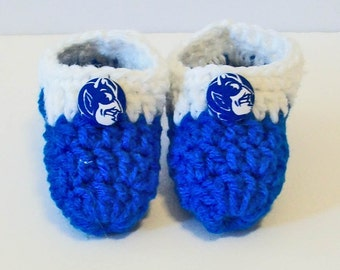 Adorable Hand Crocheted Baby Bootie Shoes Blue and White Duke Inspired Great Photo Prop Matching Hat & Bib Also Available