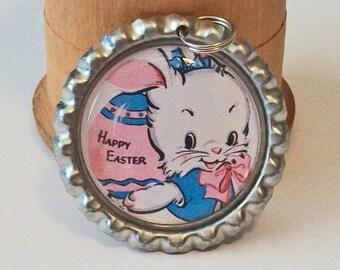 Fun Vintage Style Happy Easter White Bunny Rabbit Flattened Bottlecap Pendant Necklace