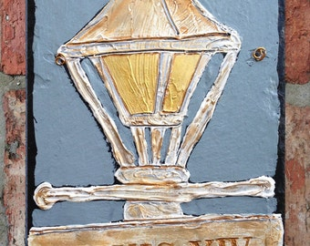 Painted Slate/Canvas, New Orleans Street Lamp