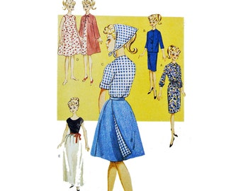 60s RETRO Vintage Doll Clothes Pattern BUTTERICK 6965 Barbie Pattern Dress Skirt Blouse Fashion Doll Clothes Pattern Size 11 1/2 Inch Doll