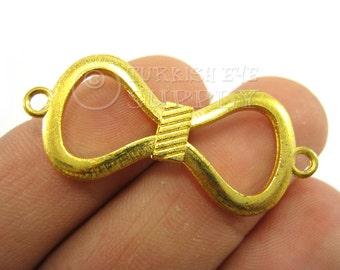 3 Pc Gold Bow Connector, Bracelet Connector, Matte 22K Gold Plated Connector, Gold Connector Findings