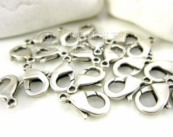 20 pc Lobster Claw Clasp, Medium 7x14mm, Antique Silver Plated Parrot Clasps
