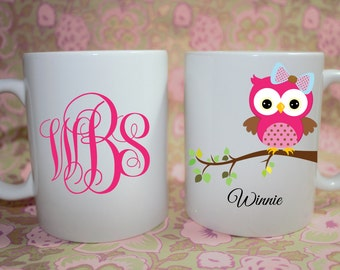 Owl on a branch Monogram  Custom personalized Mug -  - Made to Order with Free Gift Box