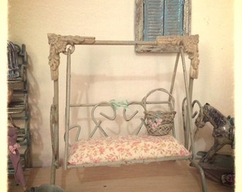 OOAK 1/12 swing miniature - dolls house - hand made - shabby chic