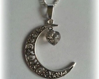 Crescent Moon necklace with heart