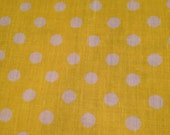 Yellow Cotton with White Polka Dot Fabric Remnant