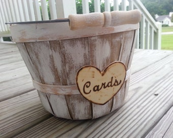 Wedding card basket, card box, rustic basket, barn wedding, rustic wedding, country wedding, beach wedding
